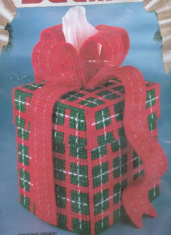 Bucilla Christmas Present Christmas Tissue Box Kit New