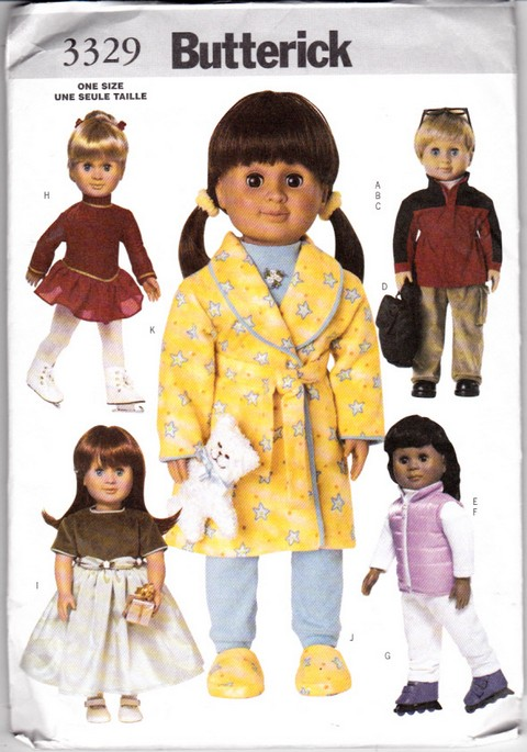 Butterick 3329 Doll Clothes Pattern 18 Inch Uncut - Click Image to Close