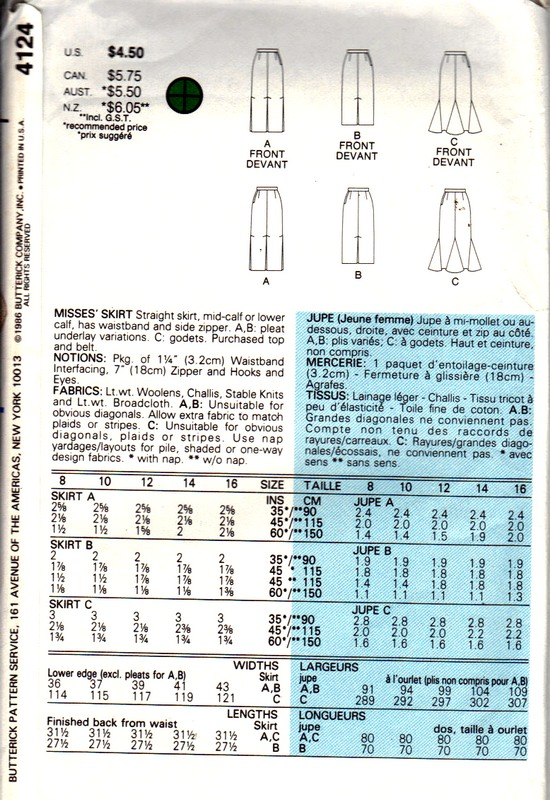Butterick 4124 Straight Skirt Pattern UNCUT - Click Image to Close