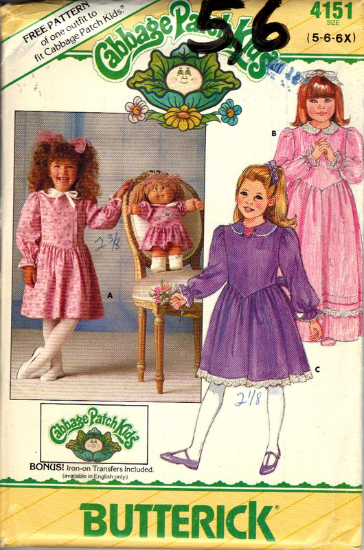 Butterick 4151 Cabbage Patch Kids Girls Dress - Click Image to Close