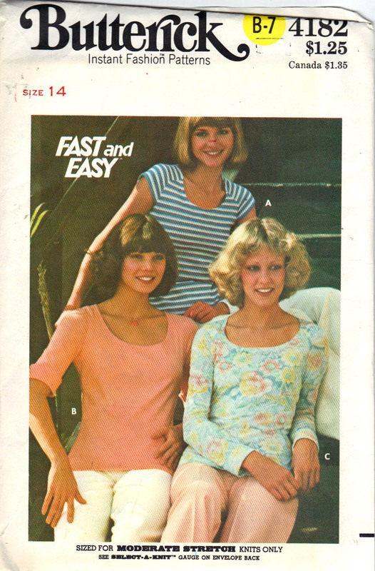Butterick 4182 T-Shirt Pattern - Click Image to Close