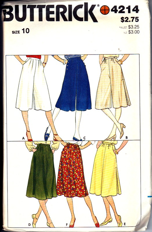Butterick 4214 Size 10 Culotte Skirt Pattern UNCUT - Click Image to Close
