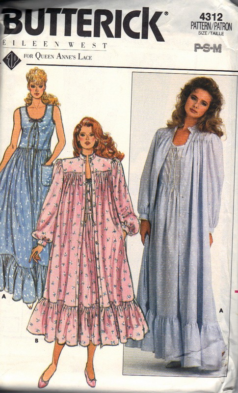 Butterick 4312 Eileen West Nightgown Robe Pattern - Click Image to Close
