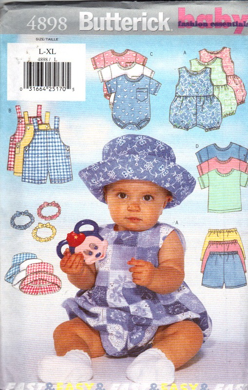 Butterick 4898 Large Infant Romper Overalls More Pattern - Click Image to Close