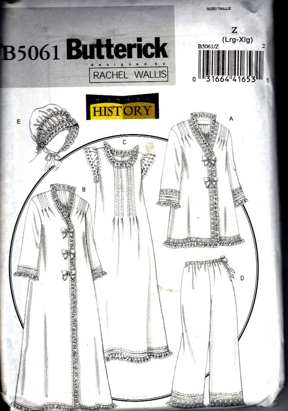 Butterick 5061 Jacket Robe Nightgown Reproduction Pattern UNCUT - Click Image to Close
