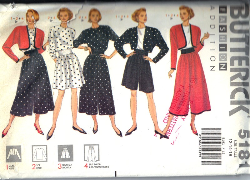 Butterick 5181 Wardrobe Sewing Pattern UNCUT - Click Image to Close