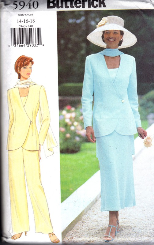 Butterick 5940 Jacket Top Skirt Pants Scarf Pattern UNCUT Large - Click Image to Close