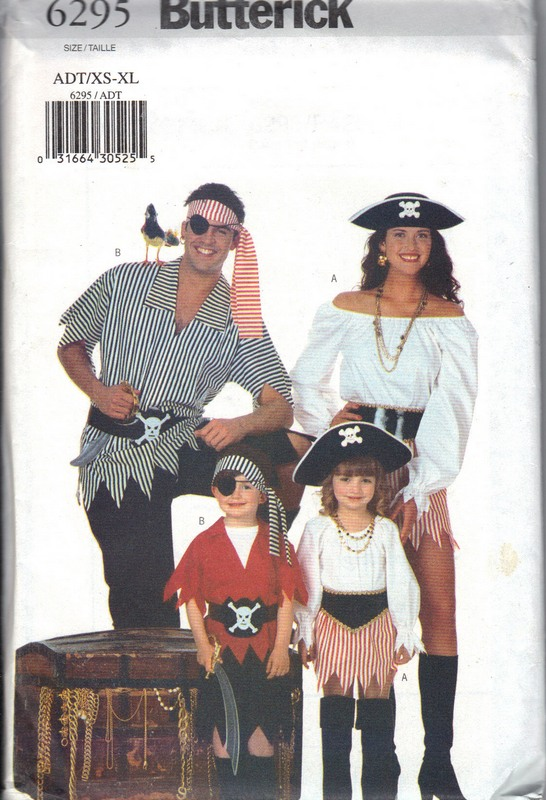 Butterick 6295 Pirate Costume Sewing Pattern UNCUT - Click Image to Close