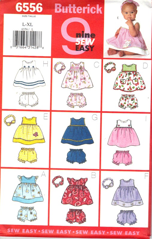 Butterick 6556 Baby Dress Panties Headband Pattern - Click Image to Close