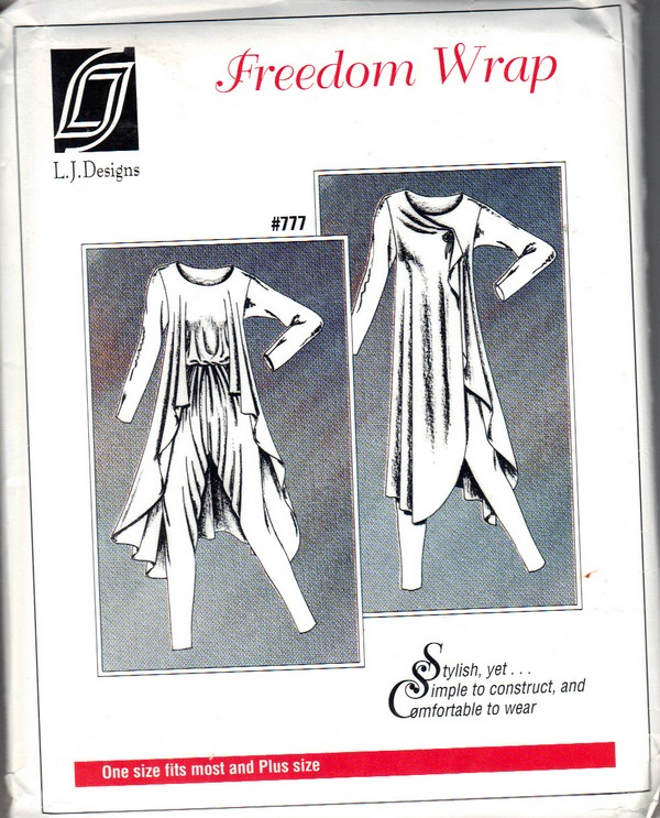 L J Designs Freedom Wrap 777 Sewing Pattern Uncut - Click Image to Close