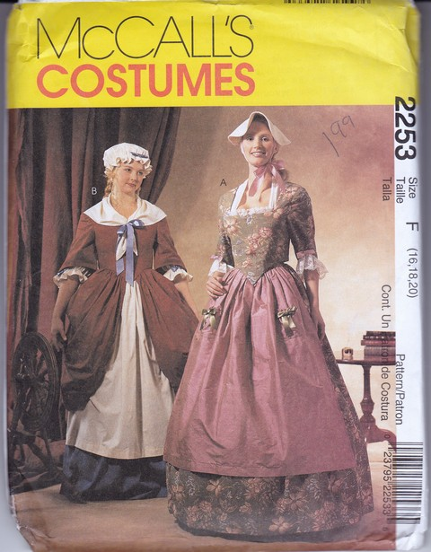 McCalls 2253 Revolutionary Dress Costume Pattern Size F UNCUT - Click Image to Close