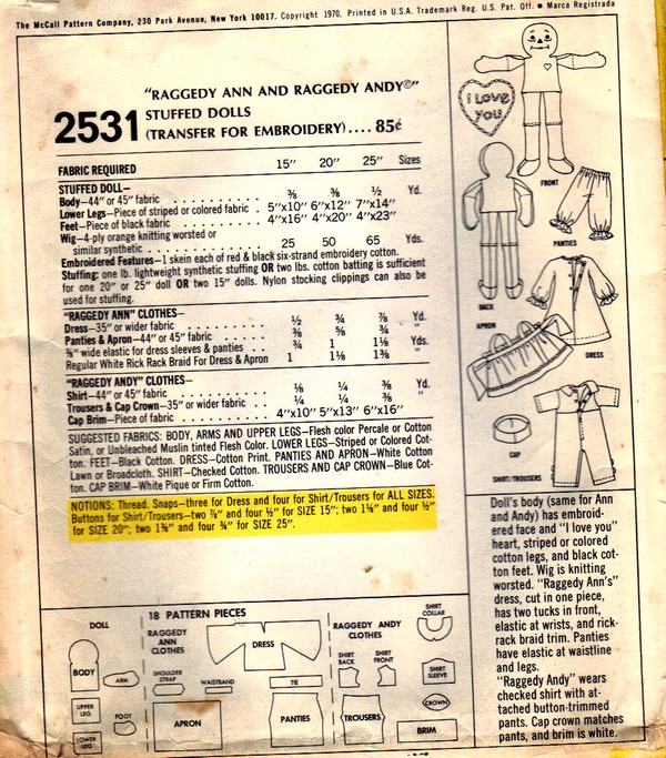 McCalls 2531 Raggedy Ann Andy Doll Pattern UNCUT - Click Image to Close