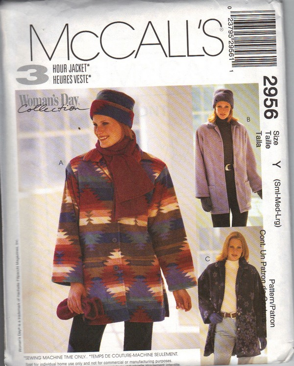 McCall's 2956 Unlined Jacket Pattern UNCUT - Click Image to Close