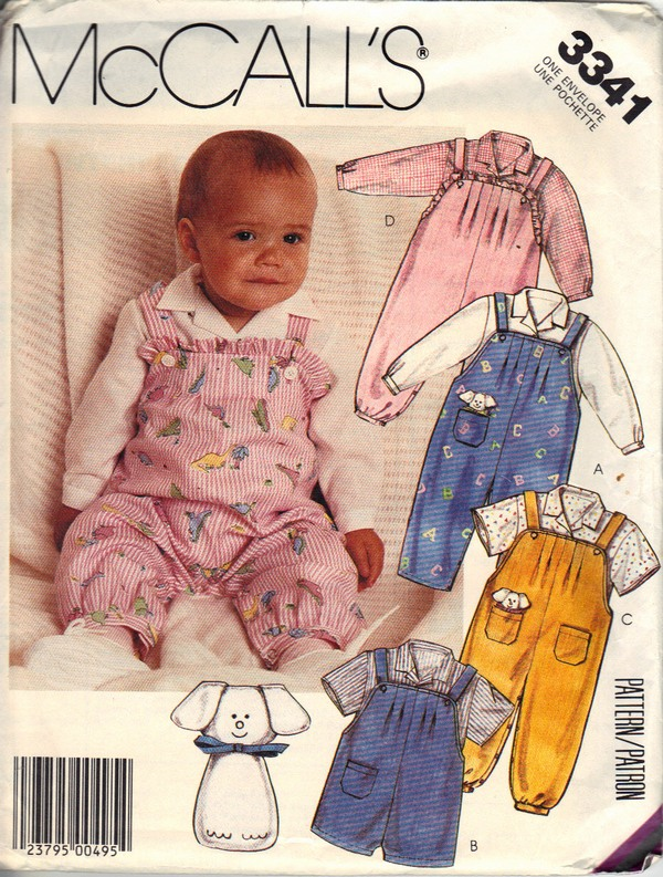 McCall's 3341 Infant Overall Top Toy Sewing Pattern UNCUT - Click Image to Close