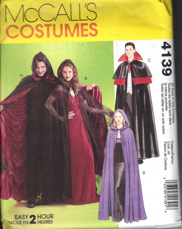 McCalls 4139 Halloween Costume Cape Vampire Pattern UNCUT - Click Image to Close