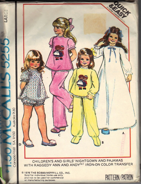 McCall's 4255 Girls' Nightgown Pajama Pattern UNCUT - Click Image to Close