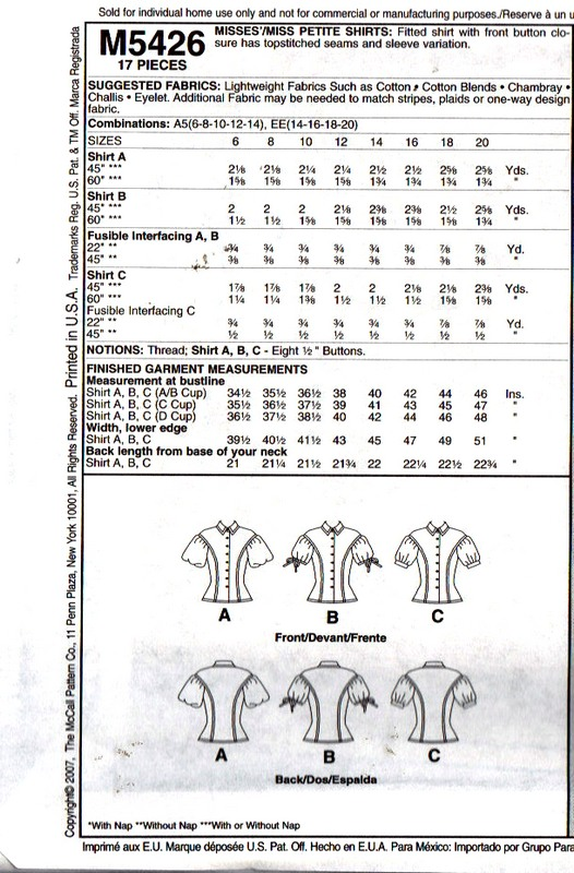 McCalls 5462 Sophiscated Blouse Pattern UNCUT - Click Image to Close