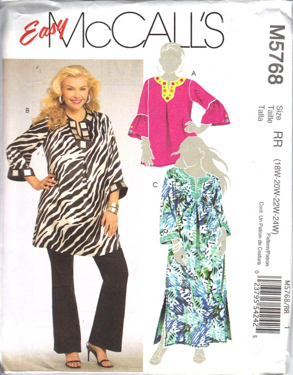 McCalls 5768 RR Modern Tunic Pattern UNCUT - Click Image to Close