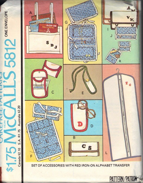 McCalls 5812 Alphabet Accessories Pattern UNCUT - Click Image to Close