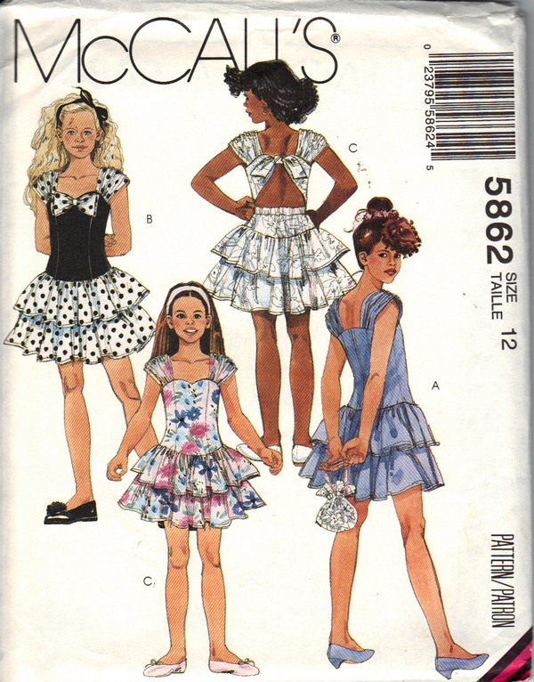 McCalls 5862 Girls Fancy Dress Pattern UNCUT - Click Image to Close