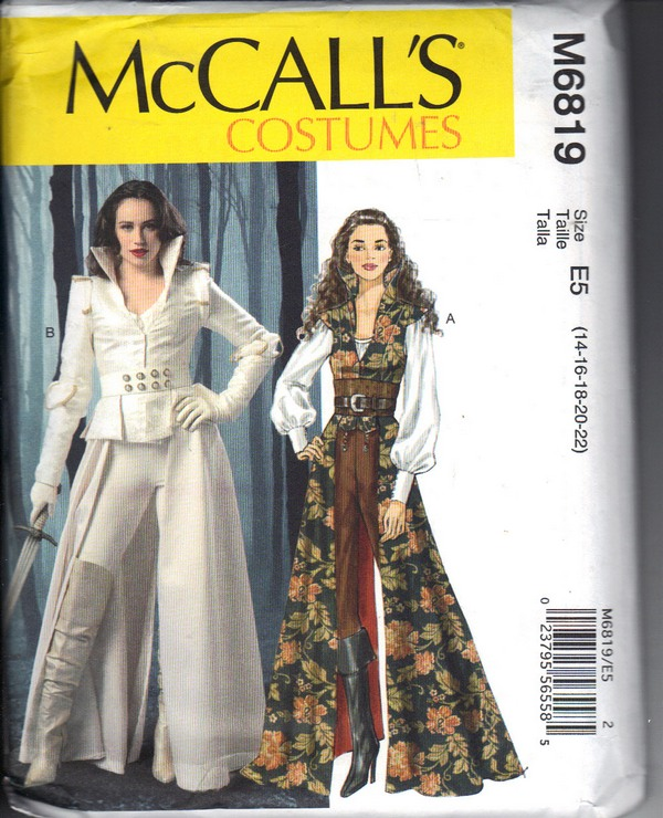 McCalls 6819 Gothic Fantasy Warrior Outifit Pattern UNCUT - Click Image to Close