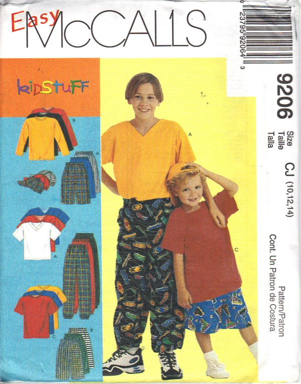 McCalls 9206 CJ Boys Casual Clothing Pattern UNCUT - Click Image to Close