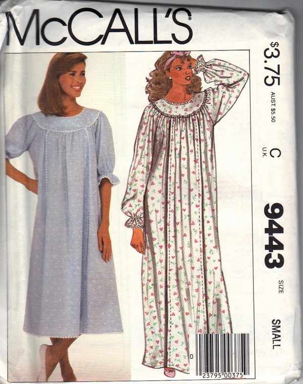 McCalls 9443 Nursing Nightgown Sewing Pattern - Click Image to Close