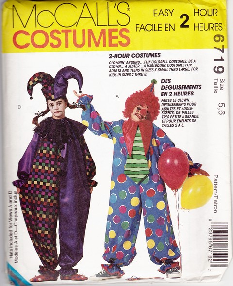 McCalls 6719 Children's Clown Costume Pattern UNCUT - Click Image to Close