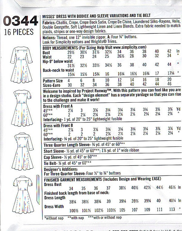 Simplicity 0344 Project Runway Wrap Dress Pattern UNCUT - Click Image to Close