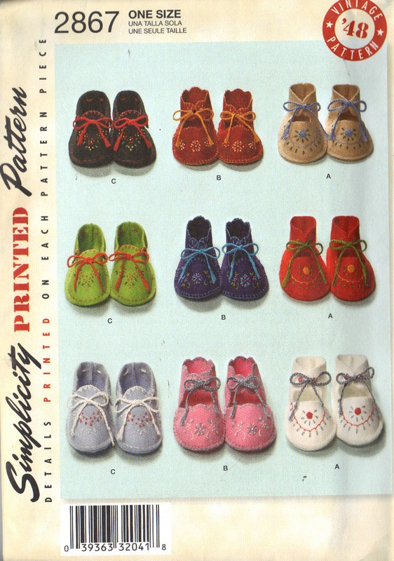 Simplicity 2867 Baby Bootie 1948 Reproduction Pattern NEW - Click Image to Close