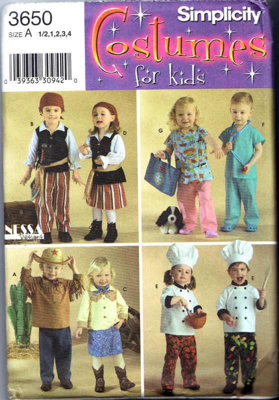Simplicity 3650 Child Costume Pattern Pirate Scrubs Chef UNCUT - Click Image to Close