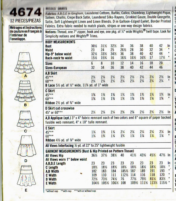 Simplicity 4674 Threads Skirt Pattern UNCUT - Click Image to Close
