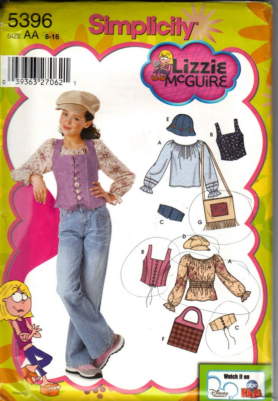 Simplicity 5396 Lizzie McGuire Separates Pattern UNCUT - Click Image to Close