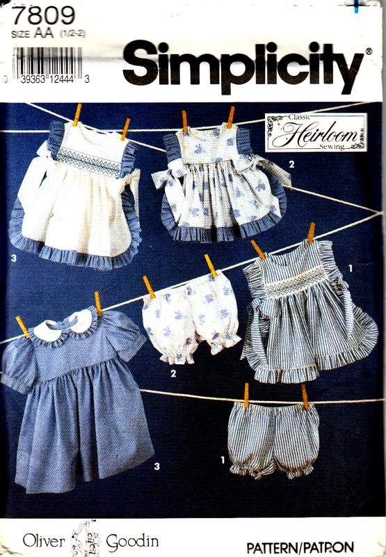 Simplicity 7809 Size AA Oliver Goodwin Smocked Pinafore Pattern - Click Image to Close