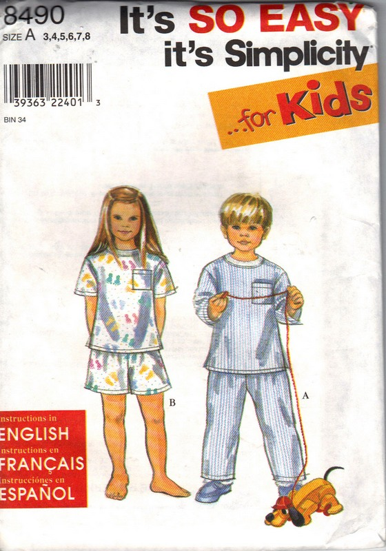 Simplicity 8490 Children's Pajama Pattern UNCUT - Click Image to Close