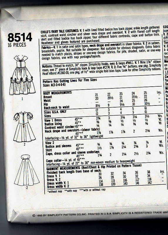 Simplicity 8514 Size A Girl's Princess Costume Pattern UNCUT - Click Image to Close