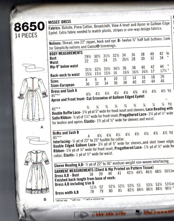 Simplicity 8650 Edwardian Costume Pattern UNCUT - Click Image to Close