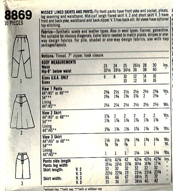 Simplicity 8869 Size 16 Lined Skirt Pants Pattern UNCUT - Click Image to Close