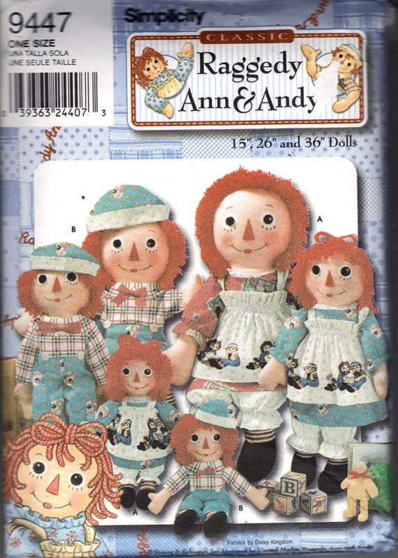Simplicity 9447 Raggedy Ann and Andy Doll Pattern UNCUT - Click Image to Close