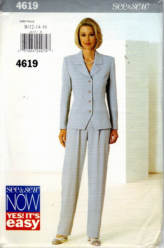 Butterick See & Sew 4619 Pantsuit Pattern UNCUT - Click Image to Close