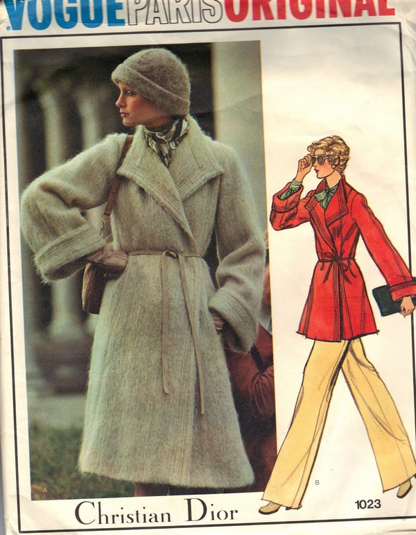 Vogue 1023 Christian Dior Coat Pattern UNCUT - Click Image to Close