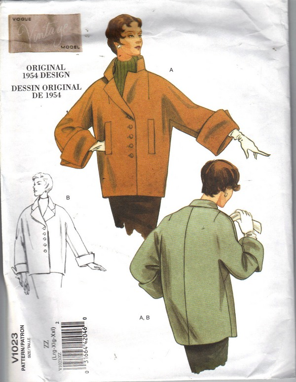 Vogue 1023 Size ZZ Vintage Coat Pattern Reissue NEW - Click Image to Close