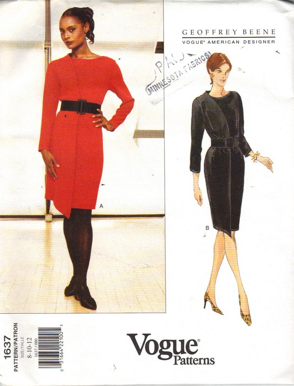 Vogue 1637 Geoffrey Beene Dress Pattern Uncut 8-10-12 - Click Image to Close