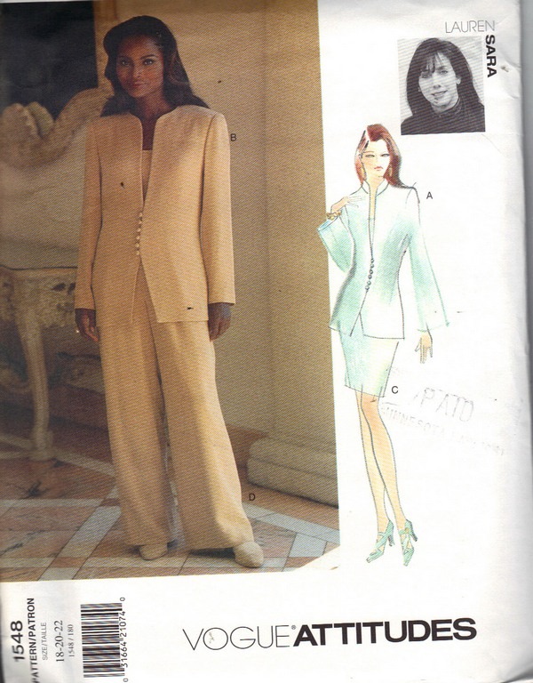 Vogue 1548 Lauren Saria SuitPattern 18-20-22 UNCUT - Click Image to Close