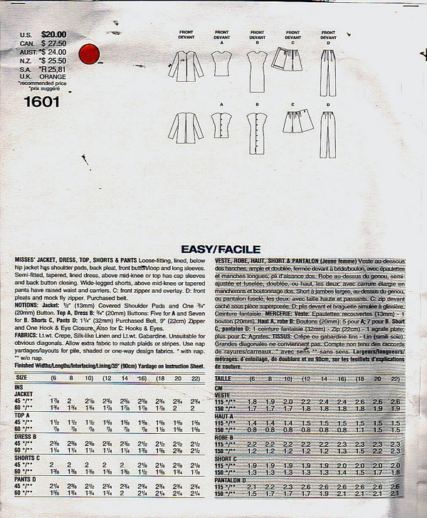 Vogue 1601 Tamotsu Wardrobe Pattern XL UNCUT - Click Image to Close