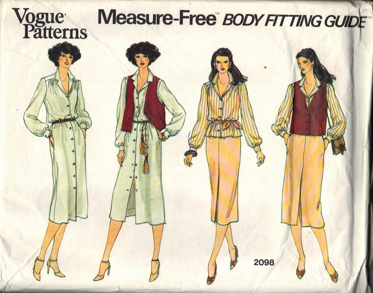 Vogue 2098 Body Fitting Guide Pattern UNCUT Size 12 - Click Image to Close