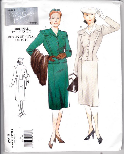 Vogue 2198 Dress Suit Reprint Sewing Pattern Uncut - Click Image to Close