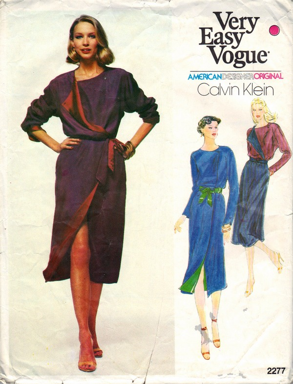 Vogue 2277 Calvin Klein Wrap Dress Pattern Size 16 UNCUT - Click Image to Close
