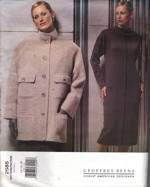 Vogue 2585 Geoffrey Beene 14-16-18 Coat Pattern UNCUT - Click Image to Close