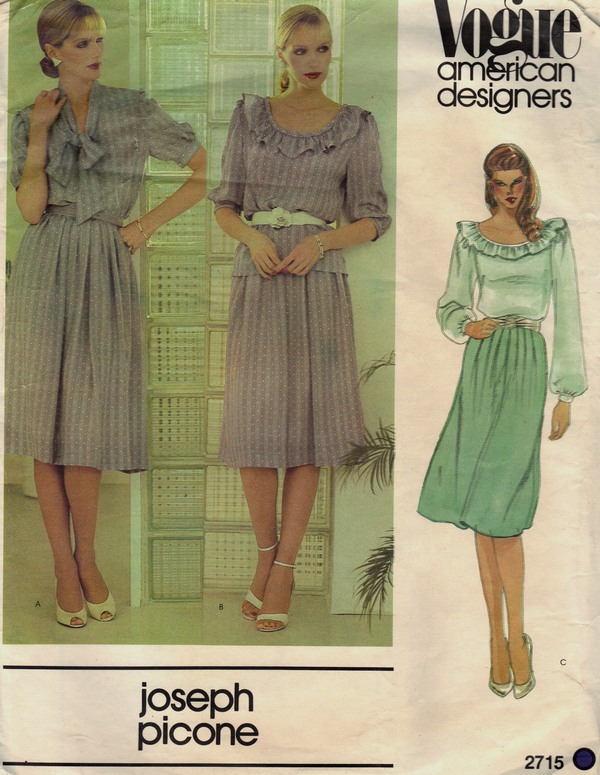 Vogue 2715 Joseph Picone Blouse and Skirt Pattern UNCUT - Click Image to Close